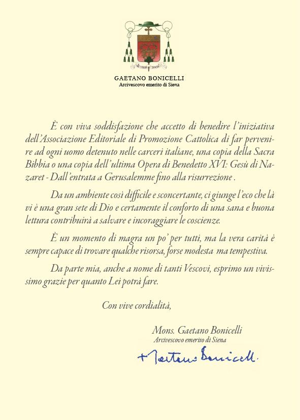 Clicca per leggere la lettera del Vescovo emerito di Siena Gaetano Bonicelli